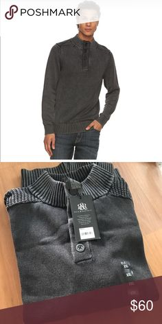 Rock & Republic mockneck button front sweater NWT. Rock & Republic mockneck sweater. Features 4 button closure, mockneck, long sleeves, and 100% comfy cotton with some stretch. Stylish and edgy! Color is New Black. Rock & Republic Sweaters Turtleneck