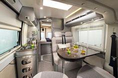 Adria Twin 600 camper van interior, built on a Fiat Ducato van.