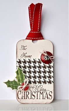 Christmas tag, I love the hounds tooth paper - like the color combo for a cute xmas card...