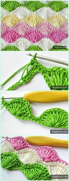 Crochet Long Loop Shell Stitch Free Pattern - Crochet Radian Stitches Free Patterns #puntadas