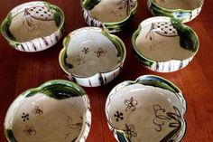 "A set of 35 year-old oribe-style ""hachi"" (shallow, straight-sided bowls) approximately 6-8"" in diameter. Photo courtesy of a private collector."