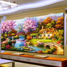 Dream House with Pond, Brigdes, Swing, Colorful Trees http://ali.pub/1n8hl8 Needle Arts Crafts Diy Diamond Painting Cross Stitch Dream Home Diamond Embroidery Cabin Scenery Rubik's Cube Drill Picture