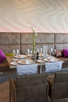Design restaurant Wellenspiel ••• Krems/Donau ••• austria Restaurant Design, Austria, Table Settings, Dining Table, Furniture, Home Decor, Dinning Table, Interior Designing, Table Top Decorations