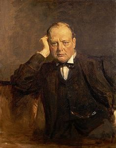 Portrait of Sir Winston Churchill, 1874 - 1965. Statesman, 1918-30 by Sir James Guthrie (Scottish, 1859 - 1930)