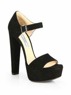 Prada - Suede Platform Sandals - Saks.com