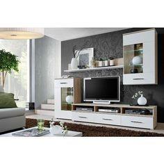 chloe decoration meuble tv mural achod bois clair et blanc achatvente meubles - Meuble Tv Design Ibiza A Led