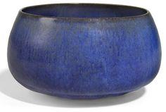 Gertrud and Otto Natzler (Austria, 1908-1971 and 1908-2007)  blue glazed earthenware bowl  signed NATZLER in black