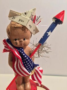 Vintage Composition Doll Patriotic Decoration 30s Vintage Kitsch Baby 4th of July Compo Carnival Frozen Charlie Charlotte OOAK
