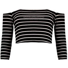 Andrea Striped Bardot Rib Crop Top (€14) ❤ liked on Polyvore featuring tops, shirts, crop tops, crop, crop top, striped shirt, stripe crop top, ribbed top and crop shirts