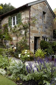 I love those very old stone houses, that remind me my country, France garden ideas