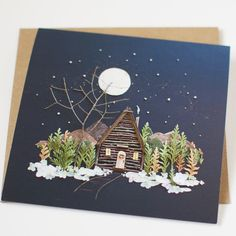 """""""Up North"""" Greeting CardSingle Card Beautiful Christmas Cards, 3d Christmas, 3d Canvas Art, Deco Nature, Pressed Flower Art, Congratulations Card, Boho Diy, Nature Crafts, Flower Prints"""