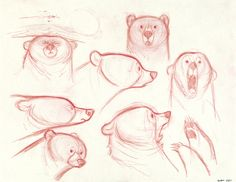 Concept Art, Mum Bear Expressions, Brave, 2012