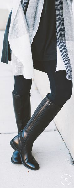 Pinterest @esib123  Go knee-high with your black boots for a playful look with leggings and a cozy sweater. Shop the Clarks Pita Dakota boot on SHOES.COM today.