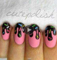 Buzz: Learn How to DIY Ice Cream Nail Art, Rules For Cover Under Eye Bags, More This was my inspiration for my nails buuuuuut it's actually alot harder than it looks!This was my inspiration for my nails buuuuuut it's actually alot harder than it looks! Love Nails, Pretty Nails, Sprinkle Nails, Ice Cream Nails, Nail Art For Kids, Cute Nail Art, Cute Nail Designs, Pretty Designs, Creative Nails