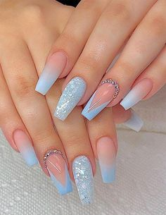 Are you ready to change your manicure style to make your finger more stylish and . - Are you ready to change your manicure style to make your finger more stylish and . Cute Acrylic Nail Designs, Pretty Nail Designs, Light Blue Nail Designs, Designs For Nails, Acrylic Nails With Design, Unique Nail Designs, Acrylic Nail Designs Glitter, Sparkle Nail Designs, Acrylic Nail Designs Coffin