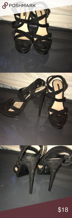 Strappy Black pumps These shoes have been worn maybe once or twice super cute for any formal occasion or a night out! Forever 21 Shoes Heels