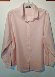 Womens long sleeve blouse Vintage retro Pink striped Large Relaxed fit  #CobbleLaneShirtmakers #Blouse