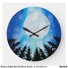 Shop Modern Night Sky Full Moon Woods Digital Painting Large Clock created by KivahKailani.