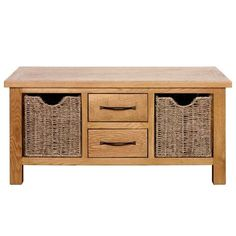 Designed with a waxed oak veneer finish, this easy to assemble Sidmouth coffee table offers two ample sized drawers, two large seagrass baskets and slimline bro...
