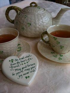 Belleek and a blessing. God bless Ireland with peace, brotherhood and forgivness. St Paddys Day, St Patricks Day, Irish Pottery, Belleek China, Belleek Pottery, Irish Cottage, Cuppa Tea, Irish Eyes, Tea Art