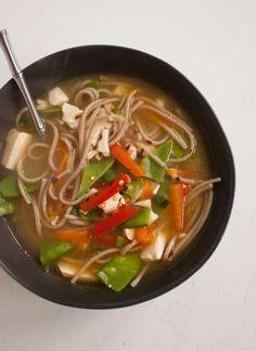 Vegetarian miso noodle soup