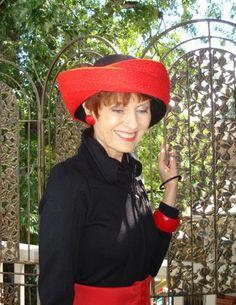 black/red straw Patricia Underwood hat