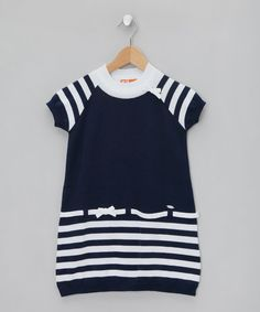 Navy & White Striped Short Sleeved Dress - Infant, Toddler & Girl by Dr Kid on #zulilyUK today!