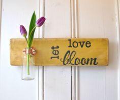 Wall Flower Vase Antique Bottle Let Love Bloom by three1seven, $39.95