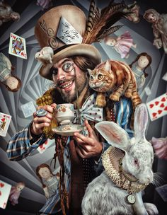 Wow, this is awesome cool. The Mad Hatter by Lee Howell, via Behance