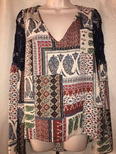 Women's Boho Blue And Red Tunic Top By Sage Size S #Sage #Tunic