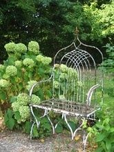 beautiful wrought iron metal white exquisite high backed bench - just gorgeous #heirloomheaven
