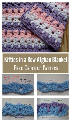 Cutest Kitties in a Row Afghan Blanket Free Crochet Pattern #freecrochetpatterns #afghan #blanket
