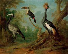 Pfefferfresser, Jungfernkranich und Haubenkranich in einer Landschaft , 1745 , Jean Baptiste Oudry (1686-1755)