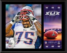 """Vince Wilfork New England Patriots Super Bowl XLIX Champions 12"""" x 15"""" Sublimated Plaque with Replica Ticket"""