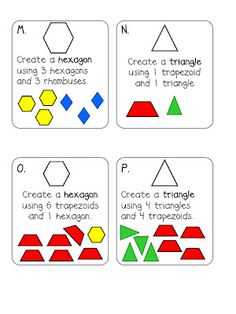 First Grade Shape Task Cards Common Core Composite Shapes Standard