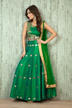 Love the Embroidered Silk Kurta-churidar from BenzerWorld!