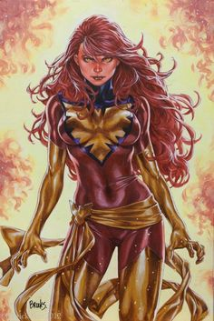 Jean Grey Dark Phoenix X-Men painting - Mark Brooks - Published SDCC 2012 Limited Edition Print, in Doug Peters's Paper Commissions and Published Art Comic Art Gallery Room - 1040900 Comic Book Heroines, Comic Book Characters, Marvel Characters, Comic Character, Comic Books Art, Marvel Heroines, Marvel Comics, Marvel Art, Jean Grey Phoenix