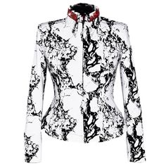 Marbled Ruby Show Shirt (S-5X) The ruby sparkle against the marbled crisp white and true black are an epic combination. Heavier weight, structured stretch fabric, similar to our jacket fabric.