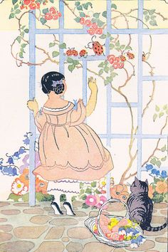 """Ladybug and Her Children -     Illustration by Janet Laura Scott in """"The Turned-Into's"""" by Elizabeth Gordon.    New York: The Wise-Parlow Co., 1935"""