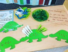 dinosaur adding at the Maths station Maths Eyfs, Eyfs Classroom, Eyfs Activities, Numeracy, Dinosaur Classroom, Dinosaur Theme Preschool, Dinosaur Activities, Year 1 Maths, Early Years Maths