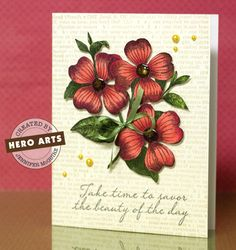 Hero Arts Three Dotted Flowers stamp | hero arts supplies hero arts flower background greeting and yellow ...