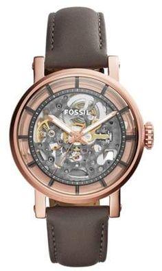 Fossil Women's Boyfriend Automatic Brown Leather Ladies Wrist Watch. Boyfriend Watch, Boyfriend Style, Skeleton Watches, Fossil Watches, Women's Watches, Wrist Watches, Watch Sale, Grey Leather, Smooth Leather
