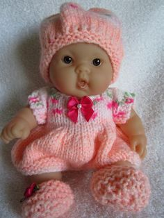 Romper for Berenguer Baby Doll Knitting Dolls Clothes, Baby Doll Clothes, Crochet Doll Clothes, Knitted Dolls, Child Doll, Girl Dolls, Baby Dolls, Doll Patterns Free, Doll Clothes Patterns