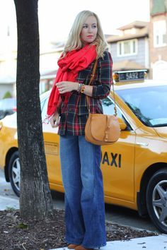 I am generally not a fan of plaid but this one rocks, and the red scarf makes it perfect!