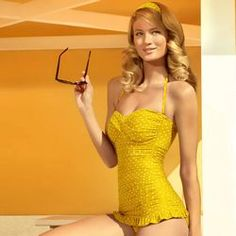 Retro yellow swimsuit