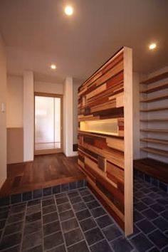 積木貼り: MA設計室が手掛けた玄関・廊下・階段です。