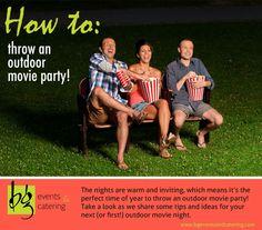 Outdoor Movie Party Ideas-- I'm soooo doing this for our housewarming party :) Outdoor Movie Party, Movie Night Party, Outdoor Parties, Outdoor Fun, Party Time, Outdoor Games, Party Party, Outdoor Ideas, Backyard Movie Nights
