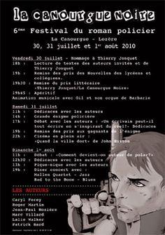 6ème édition Festival du roman policier la Canourgue noire en Lozère (48500) : 30/07-01/08/2010