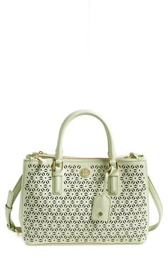 Tory Burch 'Robinson - Mini' Perforated Leather Double Zip Tote available at #Nordstrom