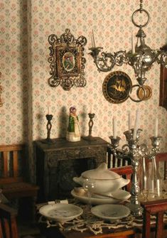 Dollhouse with furnishings, 1870-1920, from GALLERY of IMAGES ~ antique dollhouses & furnishings, farm buildings & animals, and misc. toy buildings, by Jennifer McKendry